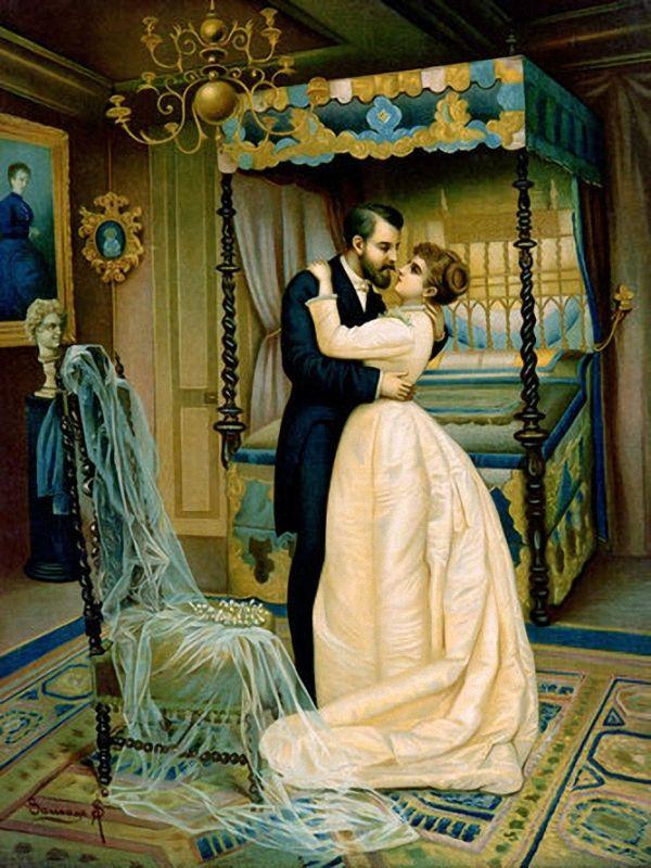 Unknown Artist French Bride And Bridegroom The Wedding Night Romance Covers Art Wedding Art Wedding Drawing