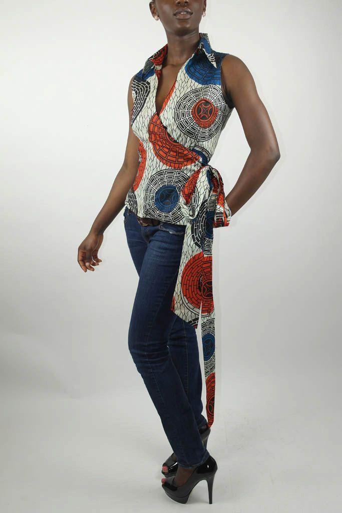 Sleeveless Wrap Top in African Print. #Africanfashion #AfricanWeddings #Africanprints #Ethnicprints #Africanwomen #africanTradition #AfricanArt #AfricanStyle #Kitenge #AfricanBeads #Gele #Kente #Ankara #Nigerianfashion #Ghanaianfashion #Kenyanfashion #Burundifashion #senegalesefashion #Swahilifashion ~DK