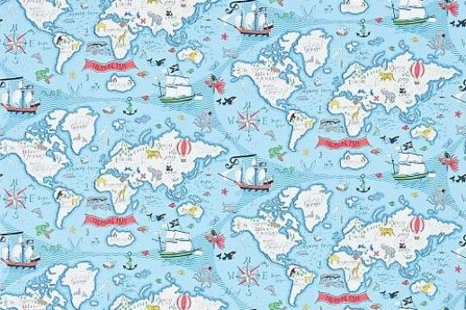 Treasure Map  (214038) - Sanderson Wallpapers - A fun pirate style map of the world, with lots of fun animals and pirate details, perfect for planning your own high sea adventures. Shown with the fresh blue sea colourway. Wide width. Please request sample for true colour match.