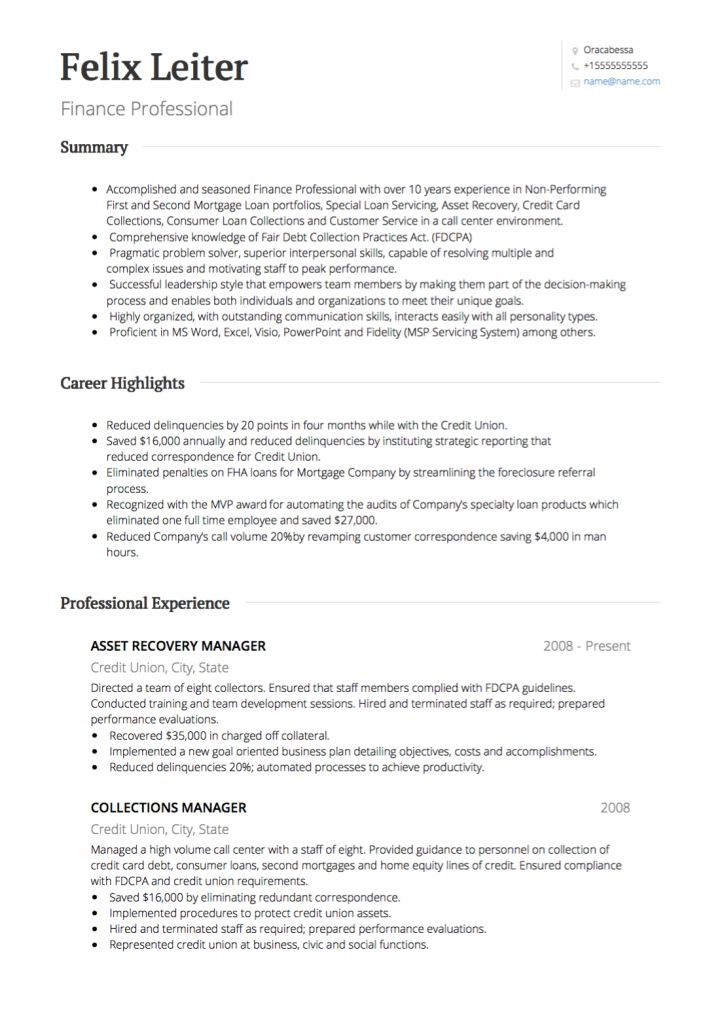 Resume Examples Banking Resume examples, Cv examples and Sample resume - bank collector sample resume
