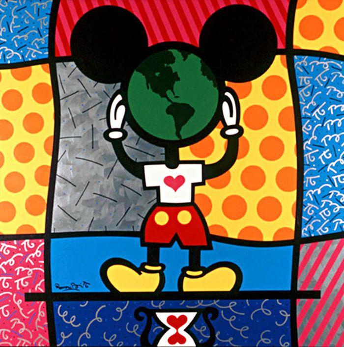 Romero Britto, Mickey's World | Romero britto, Art disney, Pop art