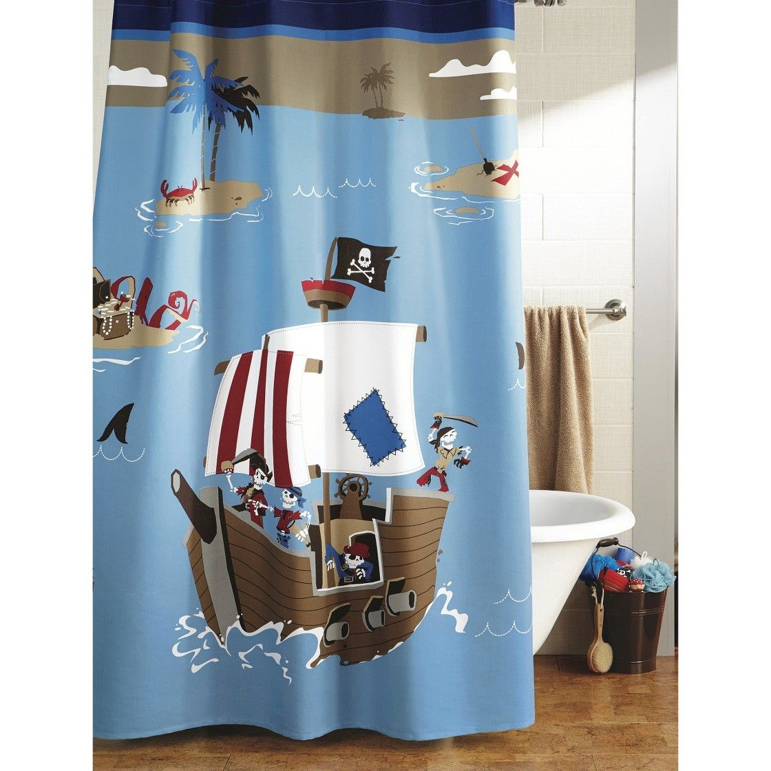 good Pirate Shower Curtain Part - 13: Circo  Pirate Shower Curtain - Blue