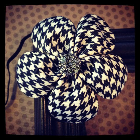 Black and White Houndstooth Flower Hairbow with by BellesBows2011, $8.00