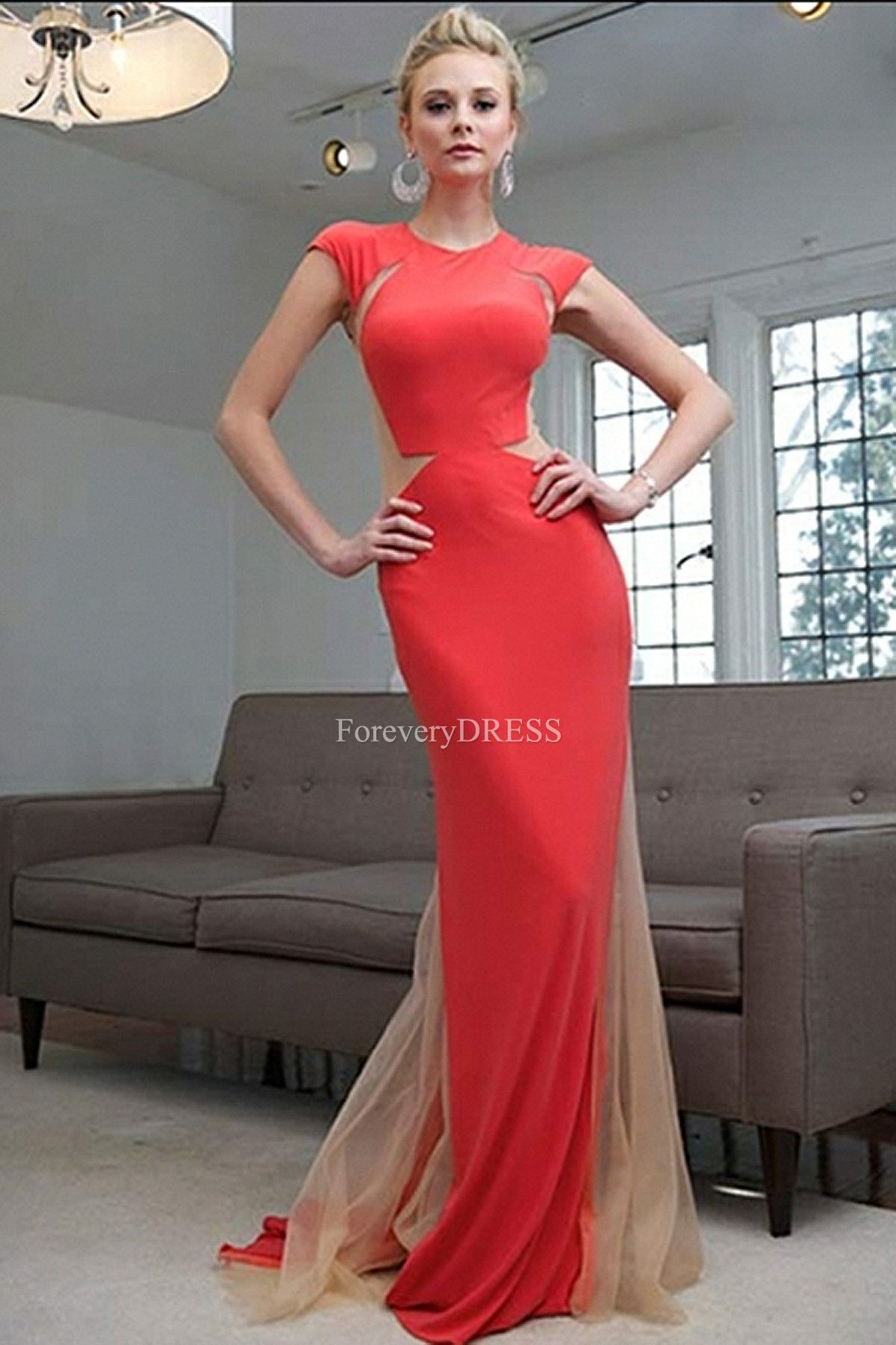Red satin short sleeve empire waist mermaid pretty prom dress top