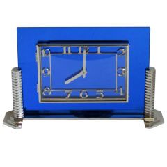 Large French Art Deco Cobalt Blue Mirror Clock by LANCEL Paris