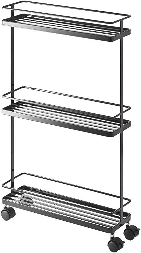 Amazon Com Yamazaki Home Tower Rolling Kitchen Storage Cart Portable Organizer Shelves Kitchen Islands C In