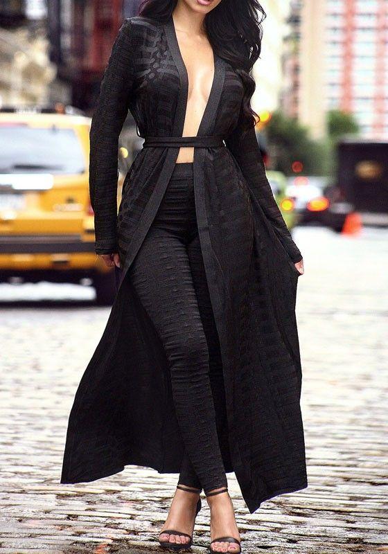 c9c975441e Black Patchwork Grenadine Sashes See-through Long Sleeve Sexy Coat