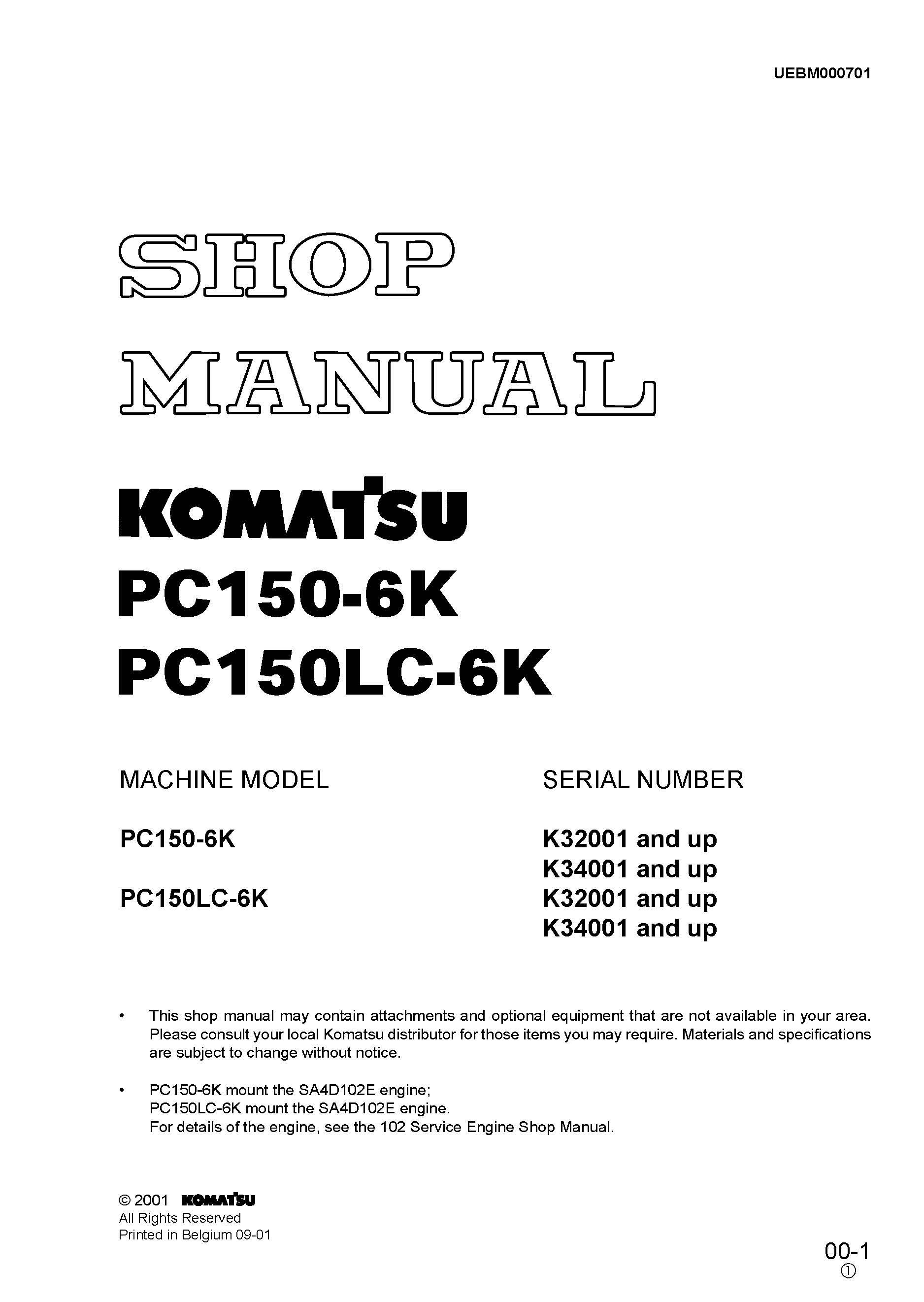 Komatsu Pc150 6k Pc150lc 6k Hydraulic Excavator Workshop Repair Service Manual Pdf Download Service Manual Repair Manual Pdf Download Hydraulic Excavator Komatsu Excavator