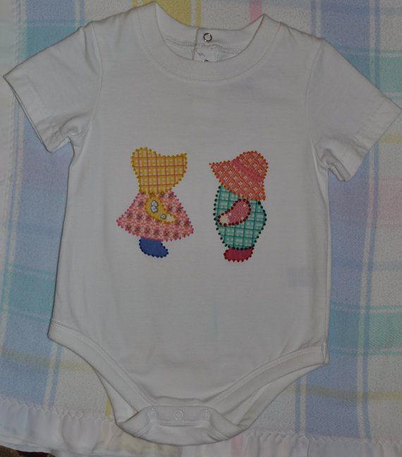 Sun Bonnet Sue Onesie, Baby Girl Bonnet Onesie, Sun Bonnet Sue Bodysuit, Sun Bonnet Sue Clothing, Baby Girl Clothing, Baby Doll Onesie #sunbonnetsue