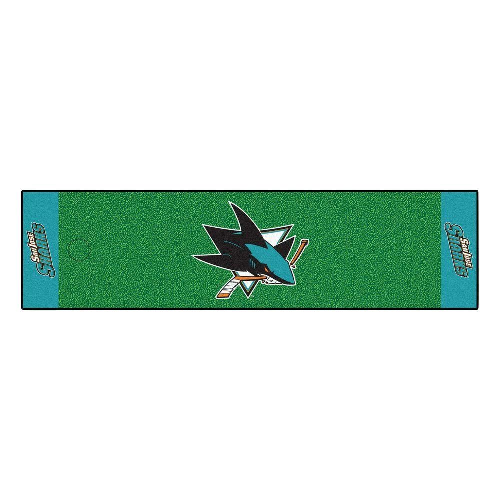 NHL San Jose Sharks 1 ft. 6 in. x 6 ft. Indoor 1-Hole Golf Practice Putting Green, Blue