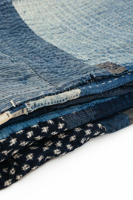 A Very Large Japanese Boro Futonji - Dense Sashiko Stitching