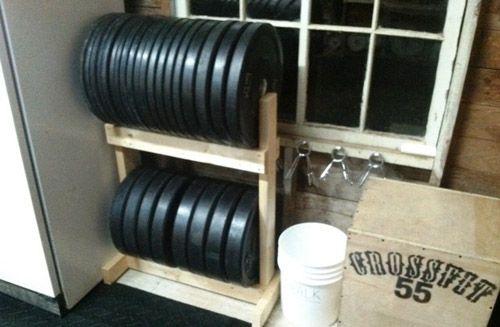 Diy plate storage projects garage gym organization gym storage
