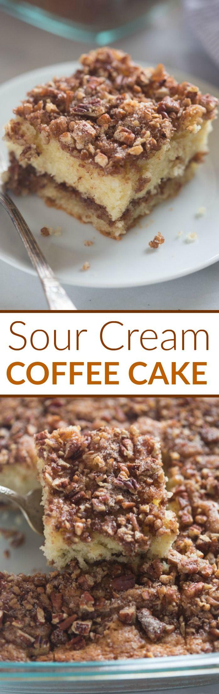Sour Cream Coffee Cake Recipe Coffee Cake Recipes Desserts Baking
