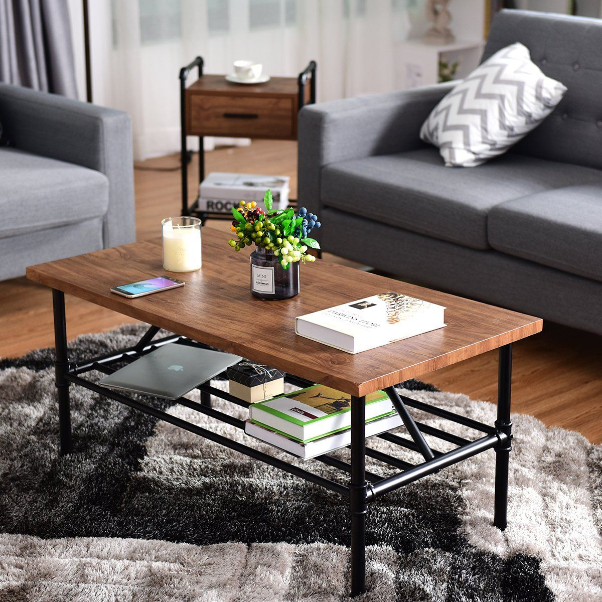 Giantex 2tier rustic coffee table metal frame modern living room furniture vintage wood look industrial style tv sofa side table accent cocktail table