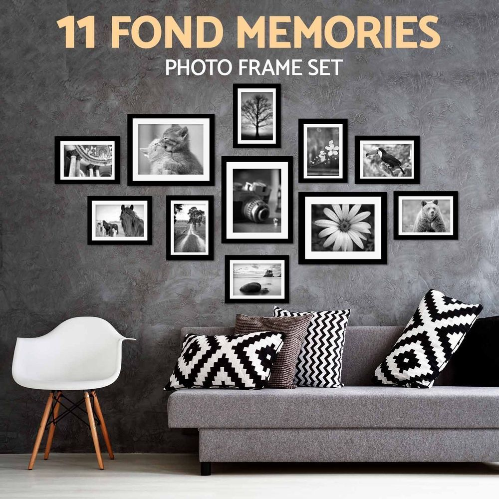 11 Pcs Photo Frame Set Picture Display Wall Hanging Modern Art Home Decor Black Wall Hanging Photo Frames Diy Wall Hanging Photo Photo Frame Wall