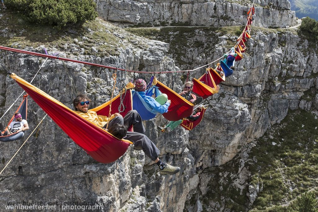 Adrenaline Junkies Hang Out In Hammocks Suspended Over A 330 Foot Drop Festivals Around The World Italian Alps Outdoor