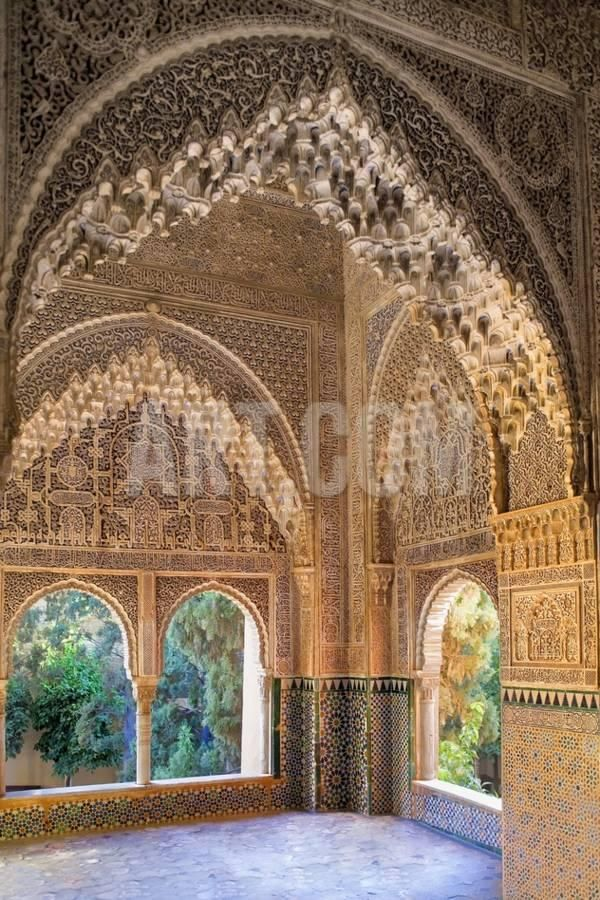 'Alhambra, Nazari Palace, Palace of the Lions,Hall of Aljimences, 9-14th C, Granada, Spain' Photo - | Art.com