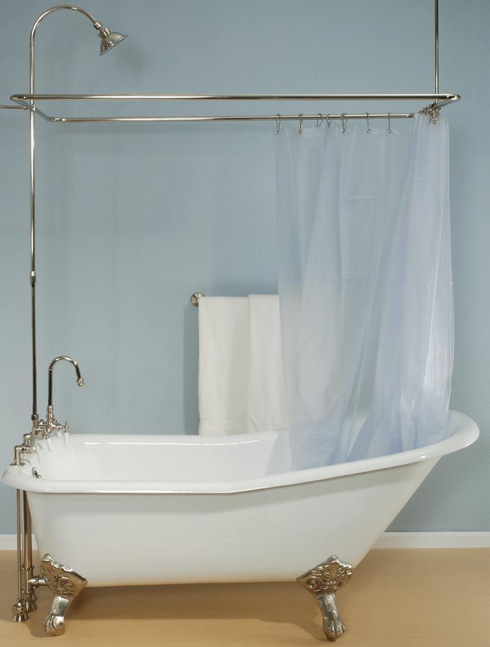 plumbing all from floor with shower curtain and rail | Bathrooms ...