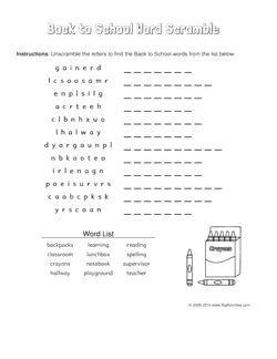 back to school word scramble puzzle with a picture of a box of crayons to color
