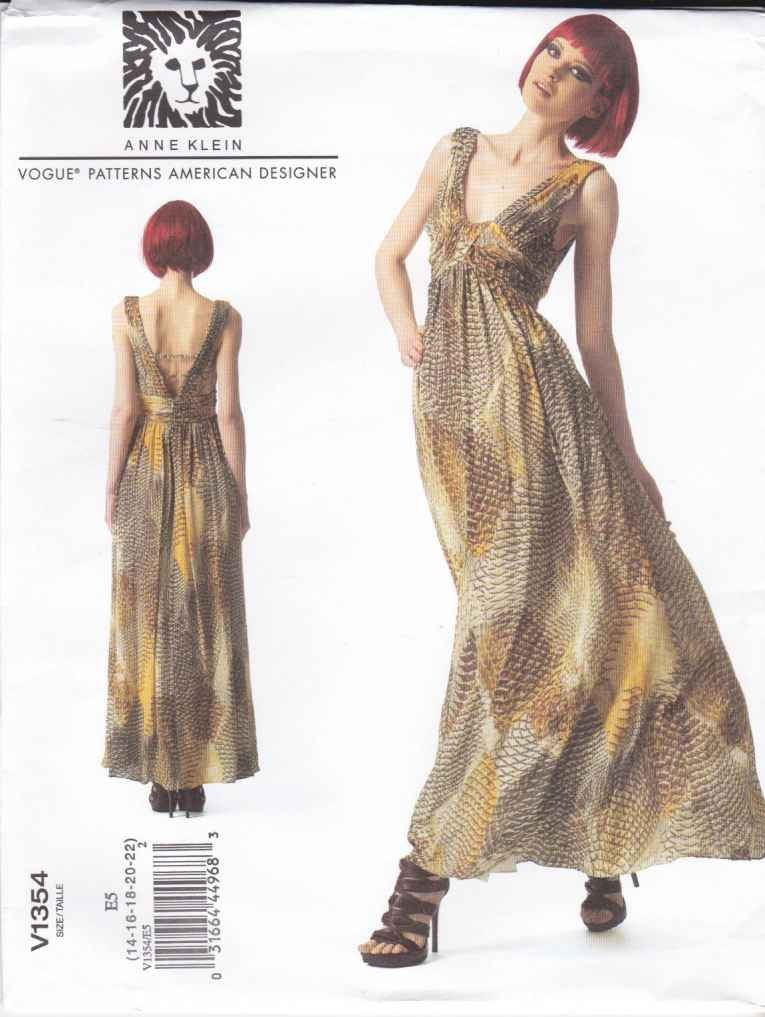 Vogue Sewing Pattern 1354 Misses Sizes 14-22 Anne Klein Sleeveless Lined Long Dress