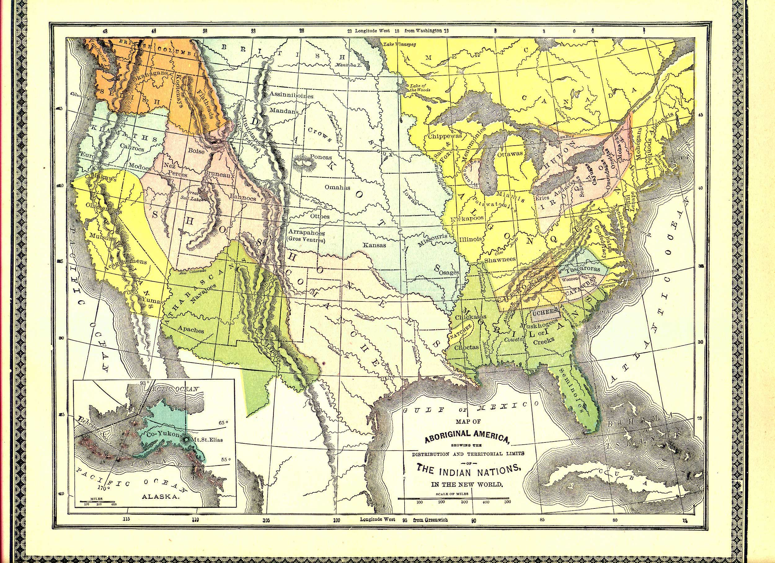 MAP OF INDIAN NATIONS Whole Map  Large File Special - Native american map of america