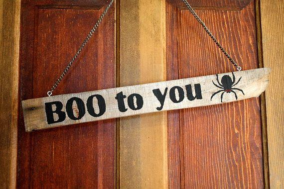 Rustic Halloween BOO to You Reclaimed Wood Sign with by SalvageOwl, $19.99