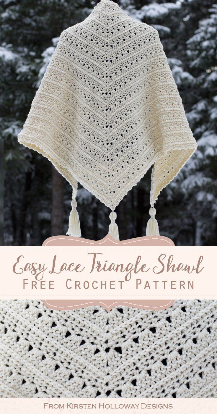 Primrose and Proper Easy Triangle Shawl Crochet Pattern - Kirsten Holloway Designs