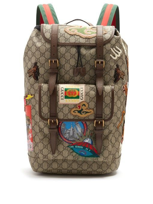 bcf95c9996a181 GUCCI Gg Supreme Embroidered Backpack. #gucci #bags #leather #lining  #canvas #nylon #backpacks #
