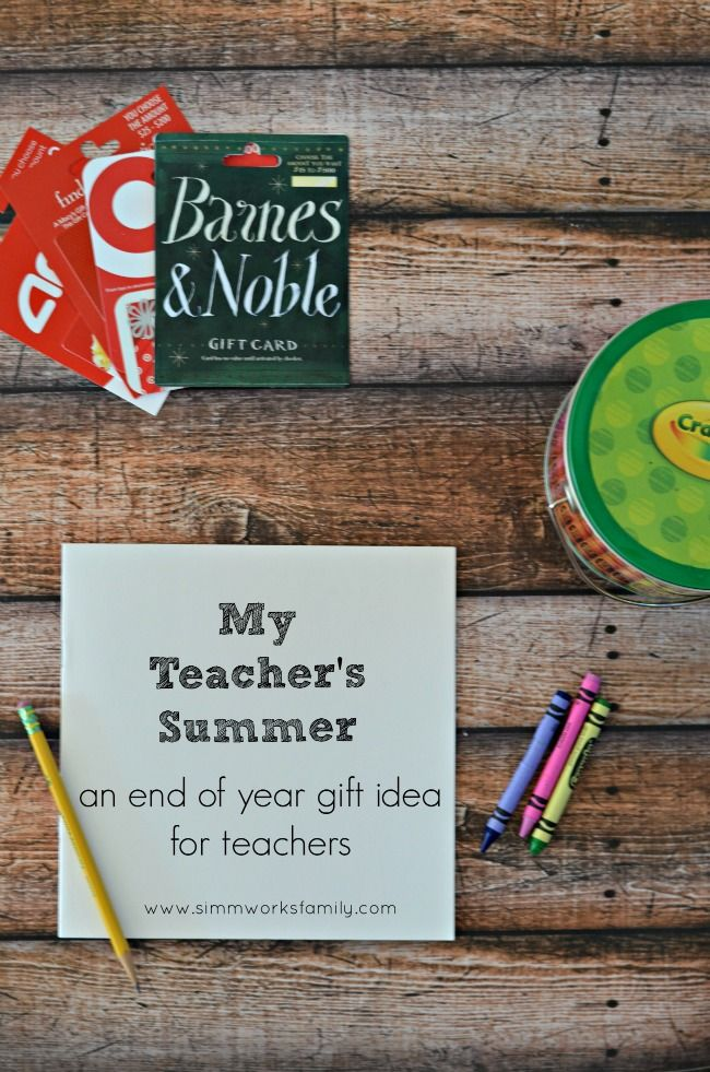 End Of Year Teacher Gifts Summer Book Of Gift Cards Via Acraftyspoonful Teacher Gift Card Teacher Gifts Teacher Graduation Gifts