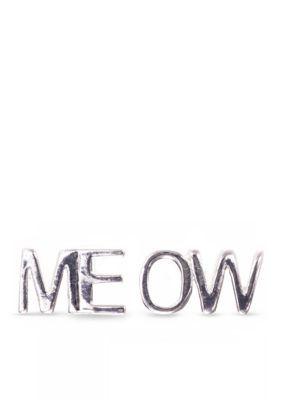 Jules B  PE MEOW BUTTON STUD - SHINY SILVER