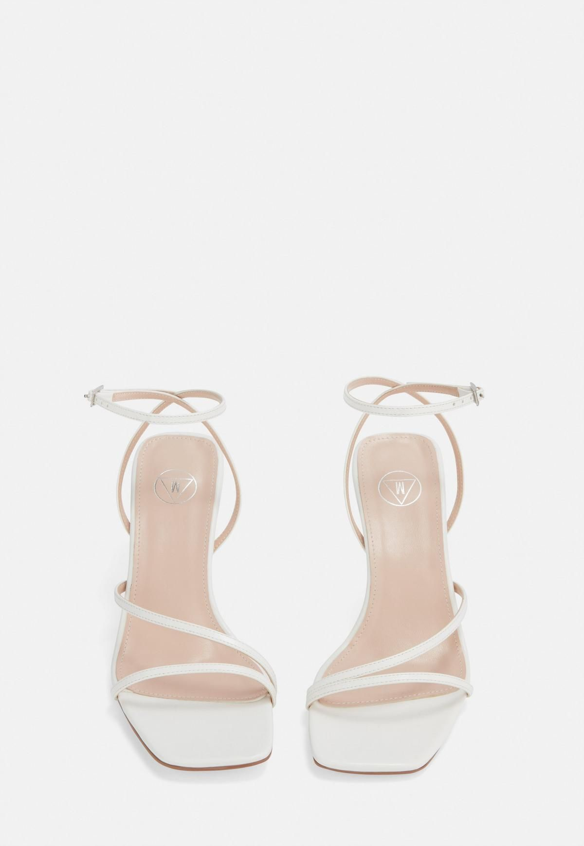 White Strappy Low Heeled Sandals
