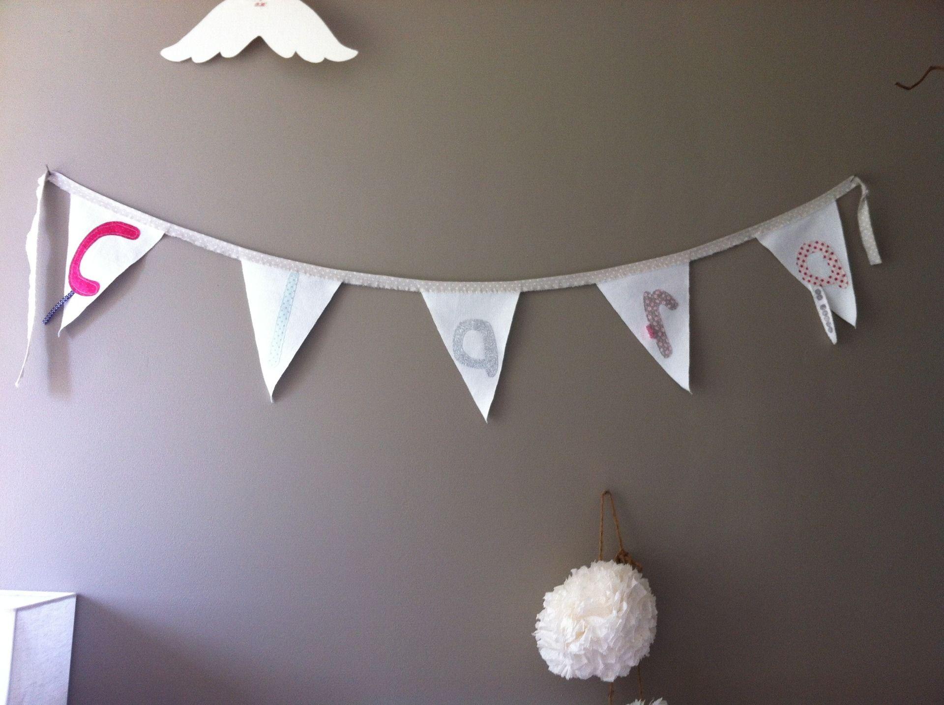 Fanion personnalise prenom enfant decoration chambre
