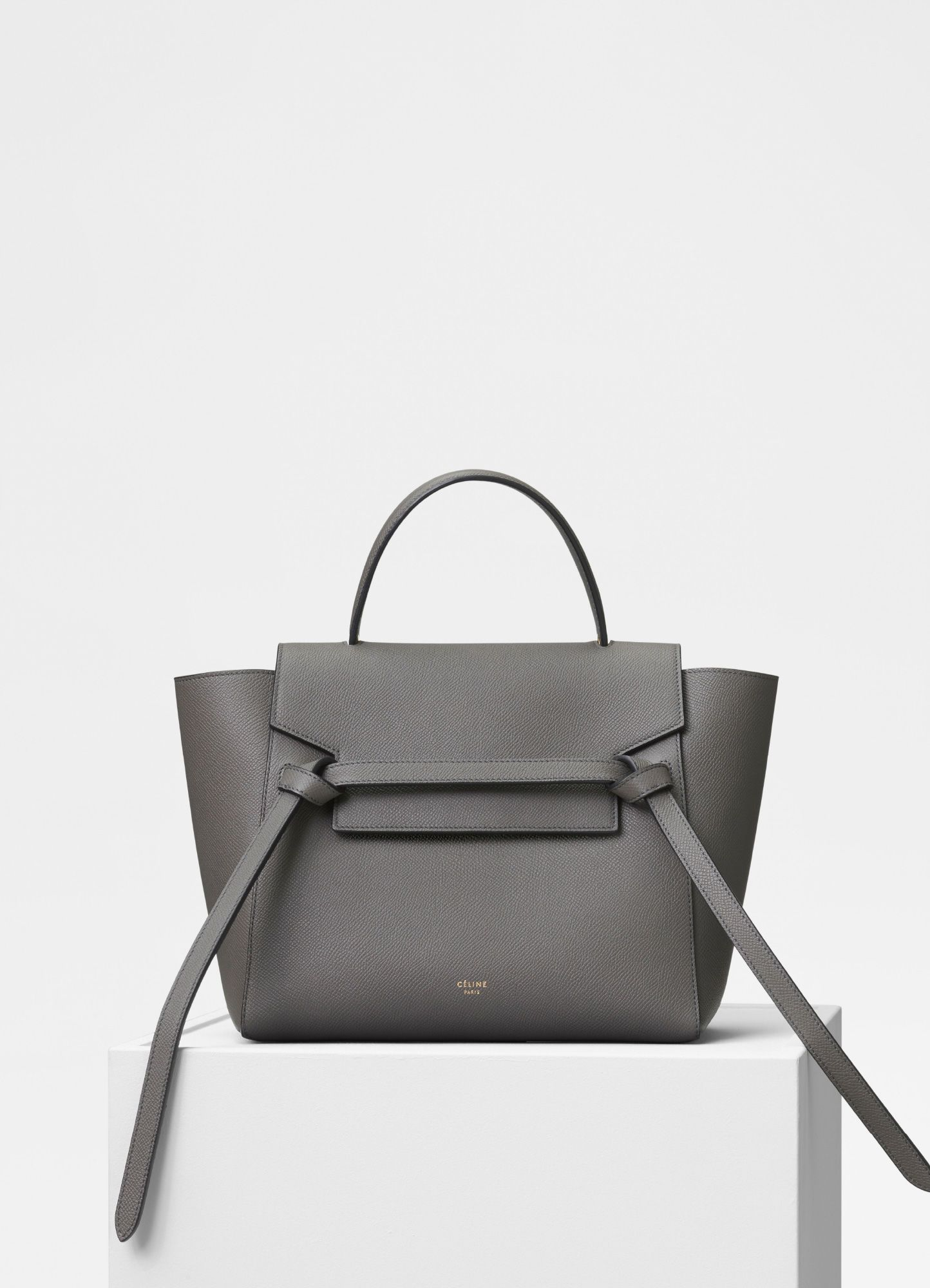 3d3fc4b089 Celine Grey Grained Calfskin Micro Belt Bag