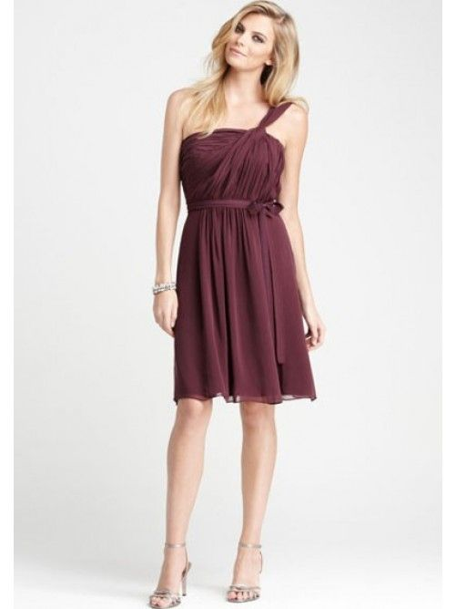 One-Shoulder Knee-Length Bridesmaid Dress