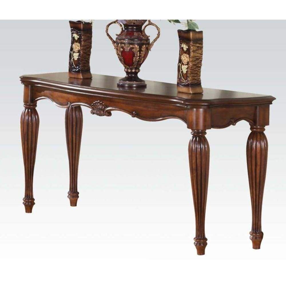 Wooden Sofa Table With Carved Details Cherry Brown In 2020 Wood Sofa Table Wooden Console Table Wooden Sofa