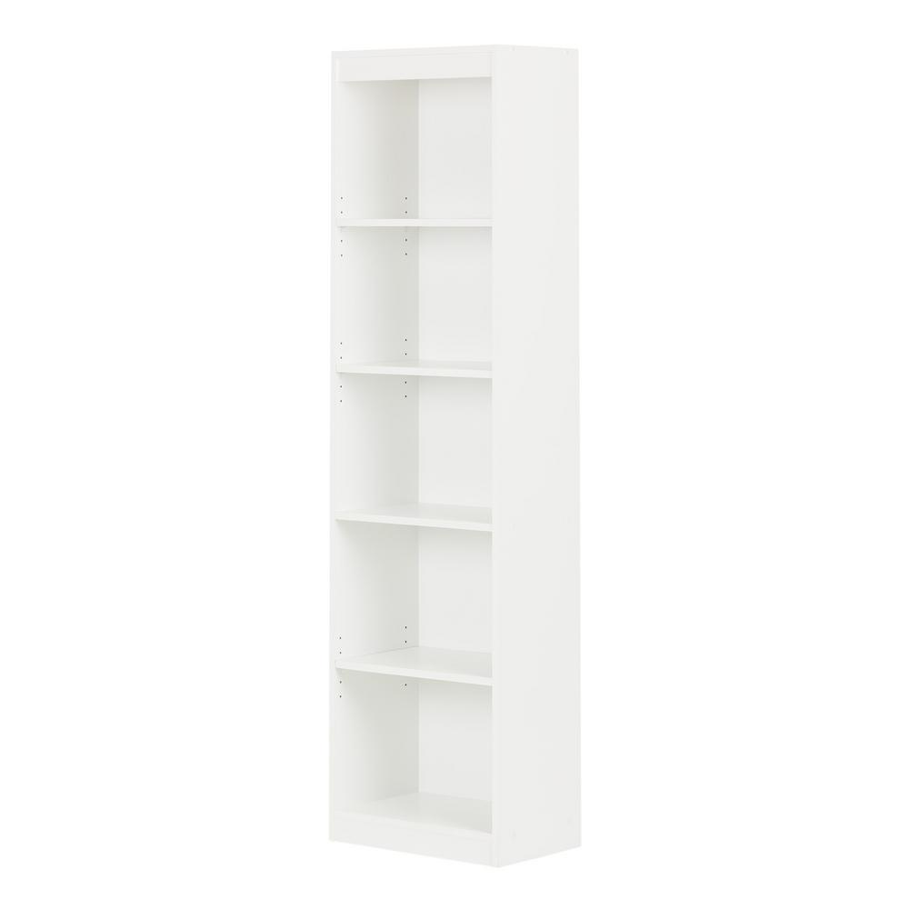 South Shore Axess 5 Shelf Bookcase In Pure White 7250758 The Home Depot Bookcase Storage Adjustable Shelving Shelves