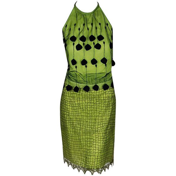 Preowned 1990's Gianni Versace Couture Chartreuse Fringe Lace Halter... (12,420 EGP) ❤ liked on Polyvore featuring dresses, green, halter dress, lace dress, lace cocktail dress, green dress and green lace dress