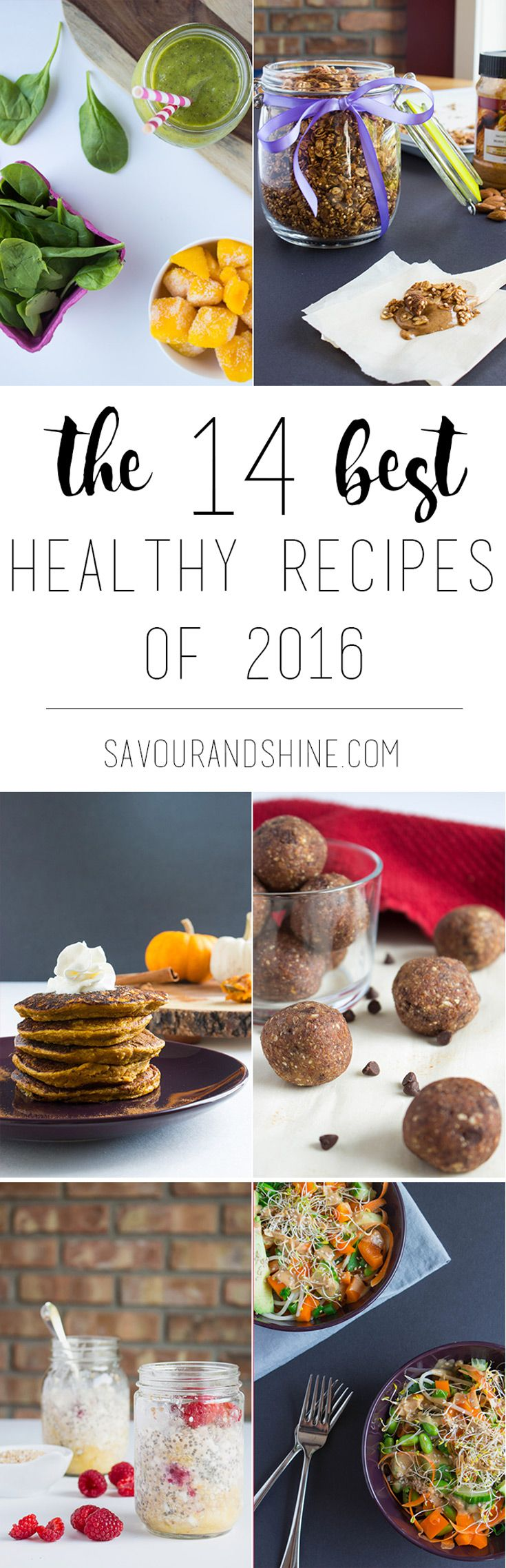 The best healthy recipes from 2016.  Breakfast ideas, bowls, snacks, and healthy desserts! Pin for later, or click through to grab them all! --> bit.ly/2016bestrecipes