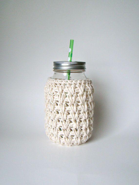 Large Ivory Mason Jar cozy Crochet jar sleeve by HookMadness, $10.00