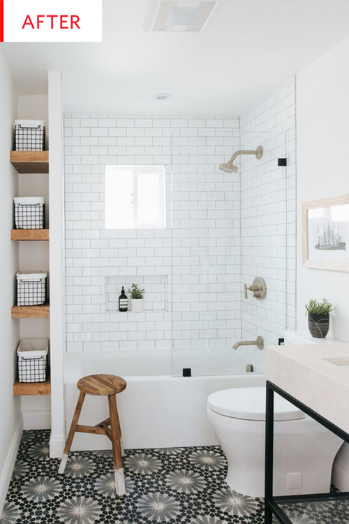 "This Bathroom Went from Boring Builder Grade to ""Wow"" #smallbathroomremodel"