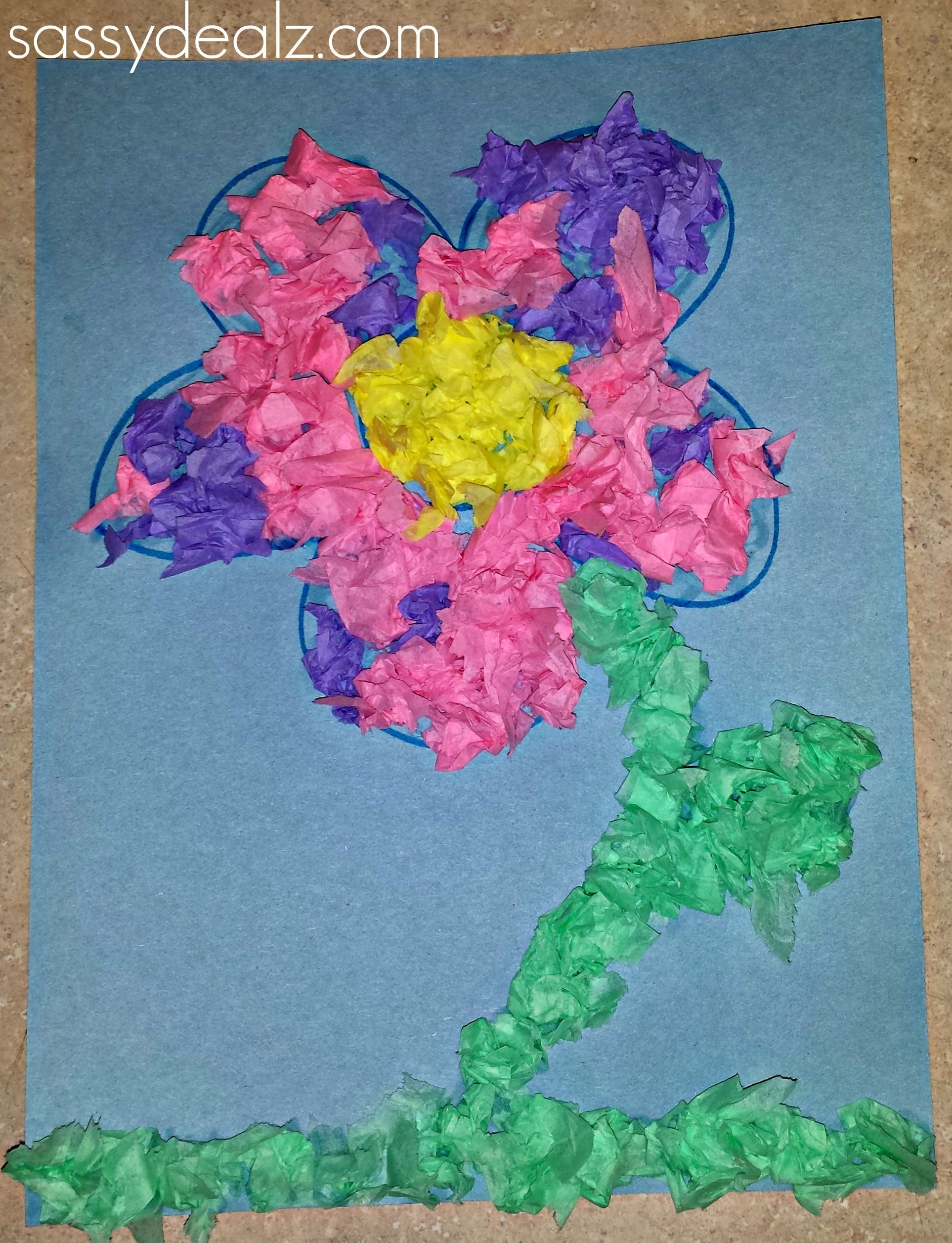 Easy Tissue Paper Flower Craft For Kids Art Projects For