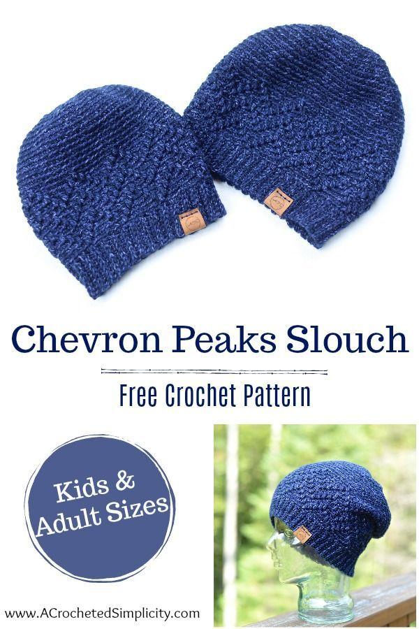 Chevron Peaks Slouch Crochet Pattern - #HatNotHate | Proyectos que ...