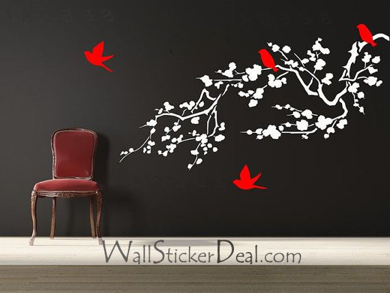 Birds And Cherry Blossom Branches Wall Stickers   Home Decorating Photo Awesome Design