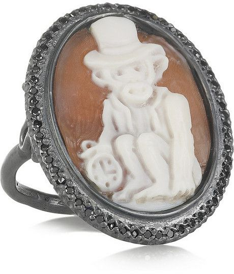 Amedeo Oxidized silver, sardonyx shell and diamond monkey cameo ring on shopstyle.com