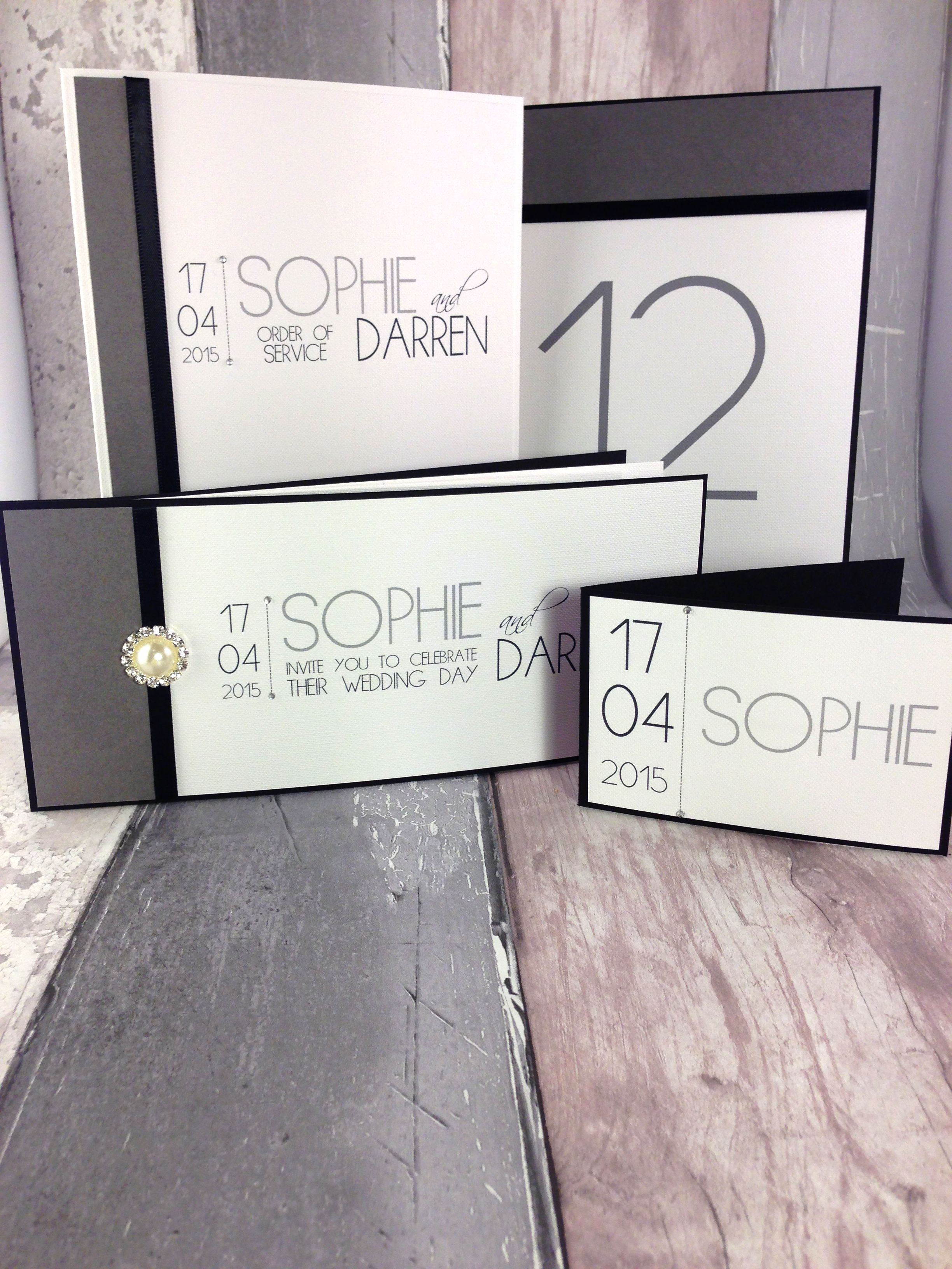 Black and White Wedding invitation, Order of Service, Table Number ...