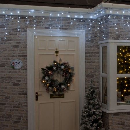 Battery Operated 200 Ice White Chasing Christmas Icicle Lights by ...