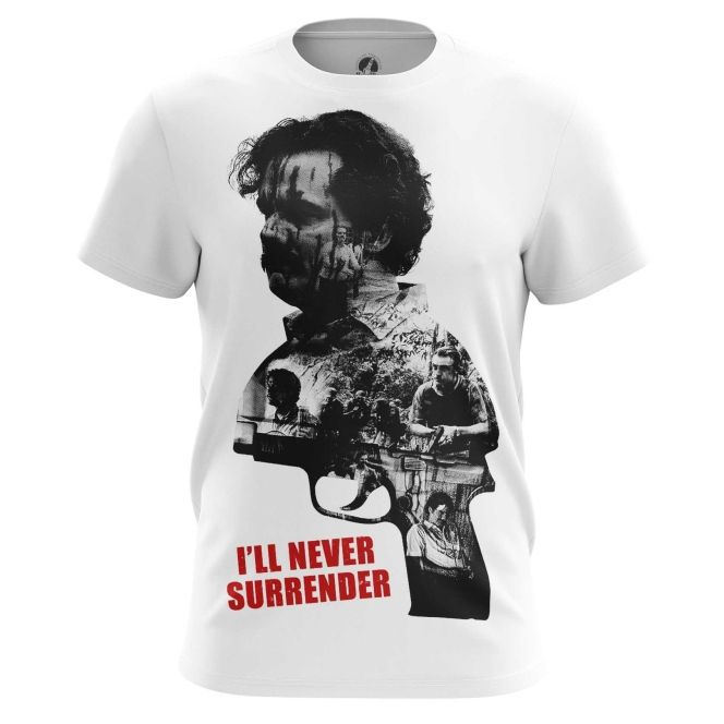 4bdb7618d Marvelous Mens t-shirt Pablo Escobar I will never Surrender quote – Search  tags