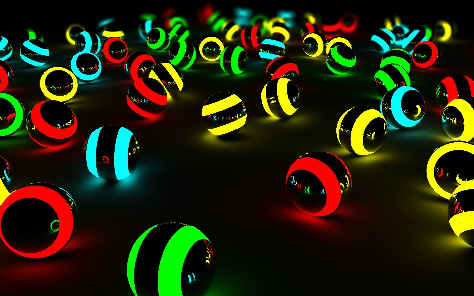Lighting Colorful Balls 3D Wallpaper 1920x1200