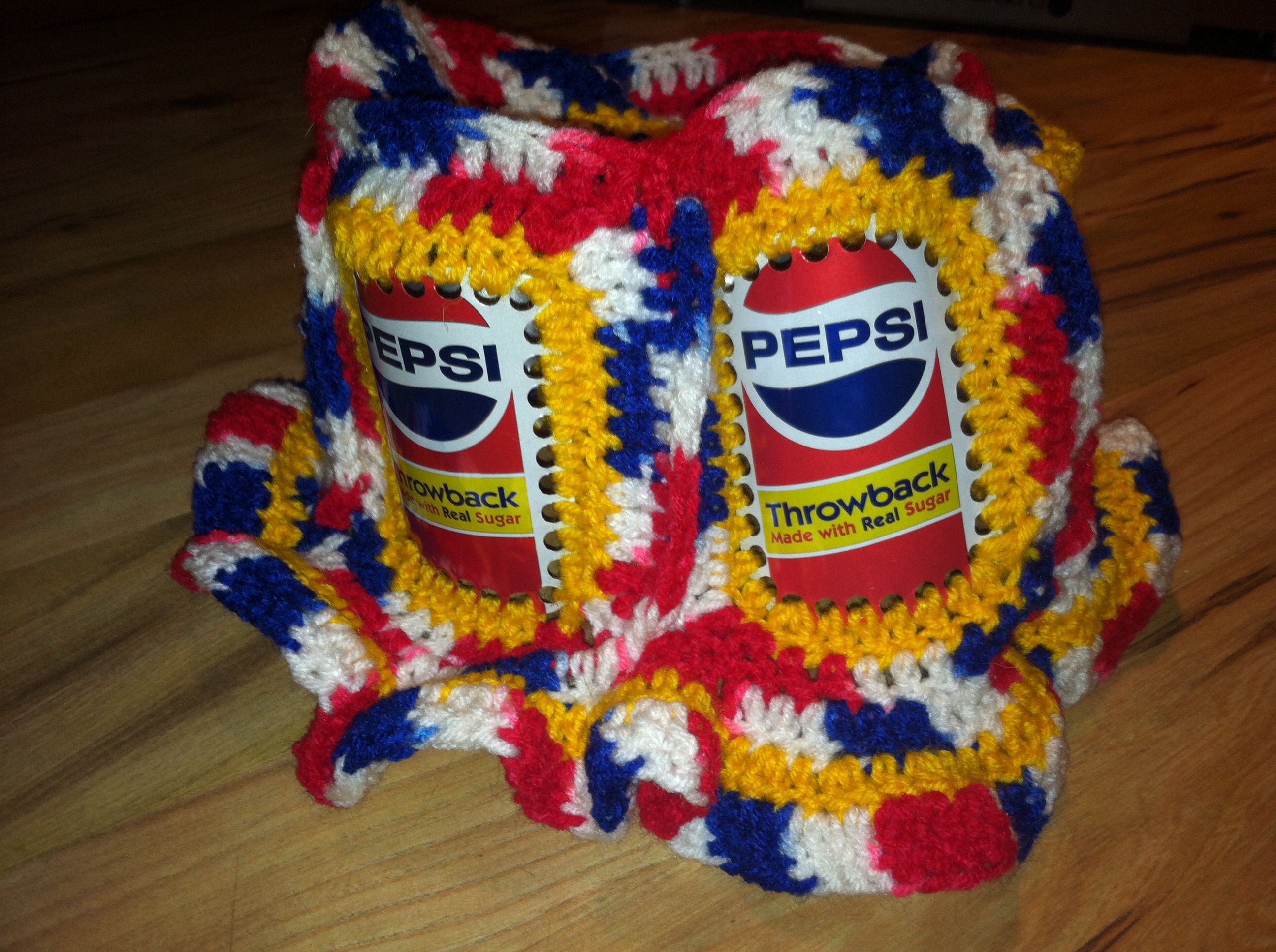176cf91c6f3 This is my Pepsi Throwback can hat. I crocheted Pepsi Throwback cans  together. Love them.