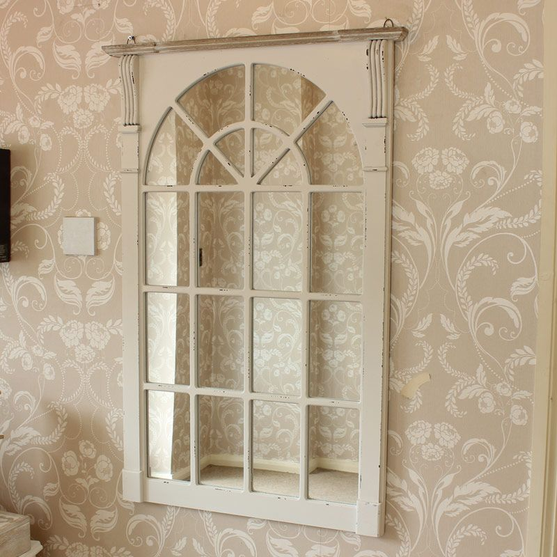 Large Cream Window Style Wall Mirror - Lyon Range 66.5cm x 100cm ...